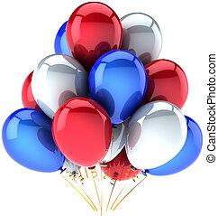 globos, día, independencia, coloreado