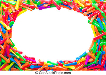 globos, de, vario, colores, rayado