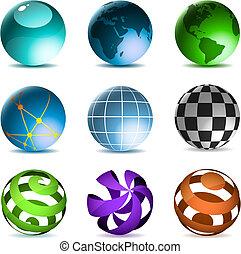 globos, e, esferas, ícones