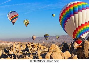 globos, encima, cappadocia.