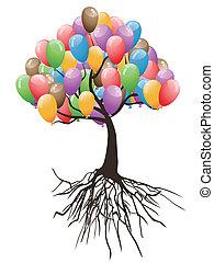 Globos, feriado, árbol, feliz