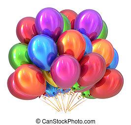 globos, fiesta de cumpleaños, decoración, multicolored., globo, ramo