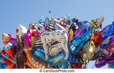 globos, helio, llenado