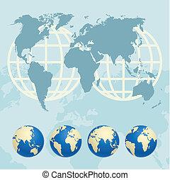 globos, mapa, mundo