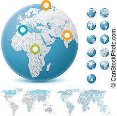 globos, mapas mundiais