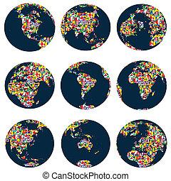 globos, mundo, feito, bandeiras, continentes
