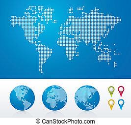 globos, mundo, pontilhado, mapas