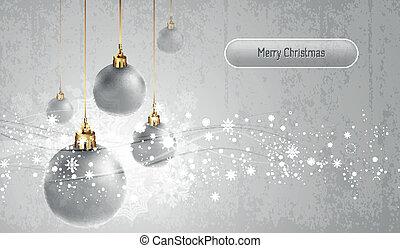 globos, natal, cartão cumprimento, prata