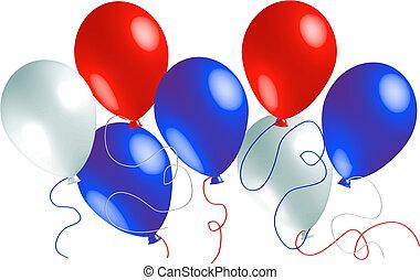 globos, rojo blanco, azul