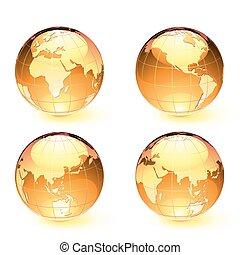 globos, terra, lustroso, mapa