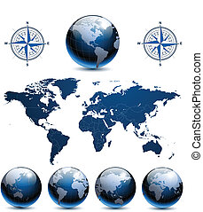 globos, terra, mapa mundial