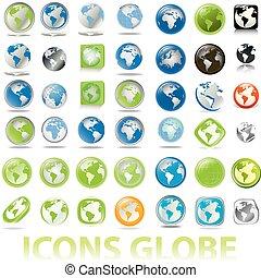globos, tierra, colección, iconos