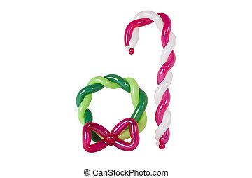 globos, torcido, a, forma, un, corona de navidad, y, azucare caña