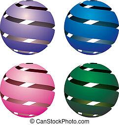 globos, vetorial, 3d