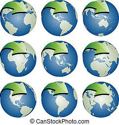 globos, vetorial, setas