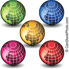 globos, vidro, vetorial