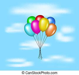 globos, vuelo, en, cielo azul