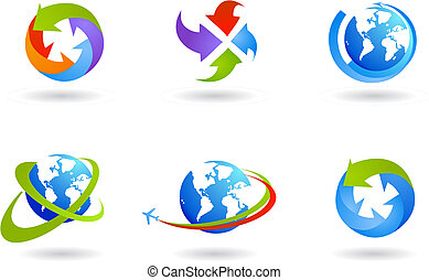 globos, y, negocio global, icono, conjunto