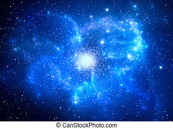 Globular cluster with nebula in the foreground