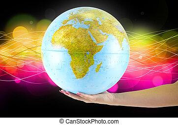 globus, 地球, 手