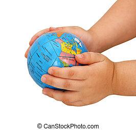 globus, in, hände, von, der, kind