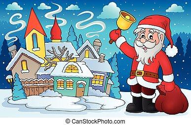 glocke, bild, claus, thema, 4, santa