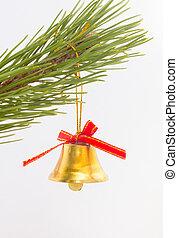 glocke, mit, roter bogen, auf, zweig, von, weihnachtsbaum