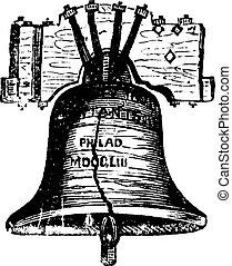 glocke, stich, philadelphia, usa, weinlese, pennsylvania,...