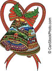 glocken, vektor, baum, decorations., weihnachten