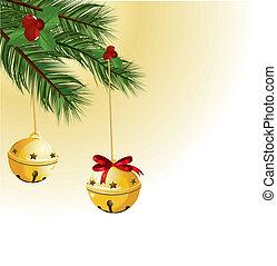 glocken, weihnachten, geschenkband, rotes