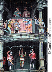 Glockenspiel on the city hall of Munich, Germany