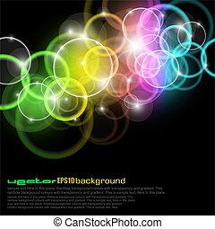 gloed, cirkels, met, regenboog kleuren