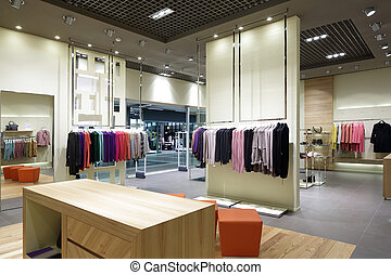 gloednieuw, interieur, van, doek, winkel