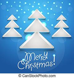 gloeiend, abstract, boompje, kerstmis, snowflakes