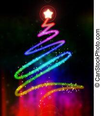 gloeiend, boompje, kerstmis