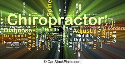 gloeiend, concept, chiropractor, achtergrond