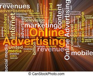 gloeiend, concept, reclame, achtergrond, online