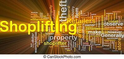 gloeiend, concept, shoplifting, achtergrond