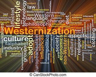 gloeiend, concept, westernization, achtergrond