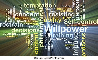 gloeiend, concept, willpower, achtergrond