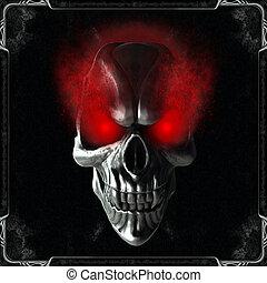 gloeiend, eyes, schedel, rood