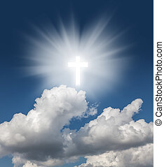 gloeiend, heilig, kruis, in, de, blauwe hemel