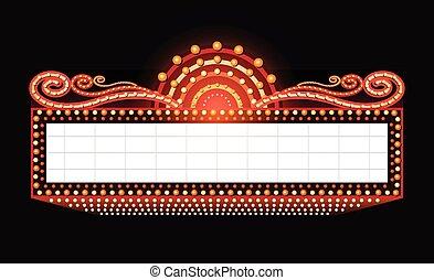 gloeiend, helder, bioscoop, meldingsbord, theater, retro, neon