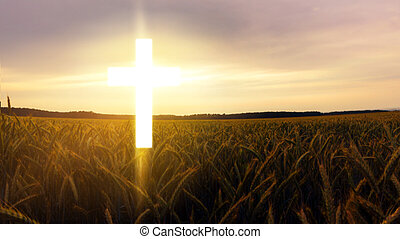 gloeiend, kruis, in, hemel, ., vrolijke , easter., licht, van, hemel