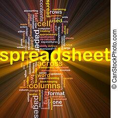 gloeiend, woord, spreadsheet, wolk