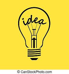 gloeilamp, -, idee, vector