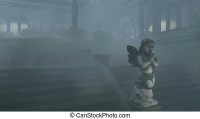 Overgrown courtyard of medieval mansion at misty night. Cupid's sculpture on foreground. Realistic three dimensional animation. Camera moves from the bottom up.