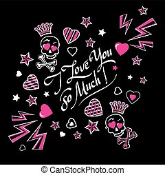 Gloomy and grim black and pink illustration card love confession with funny lovers crowned skulls with crossbones and lettering I love you so much.