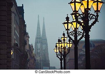 Gloomy autumn evening - Street lamps and Votive Church ...