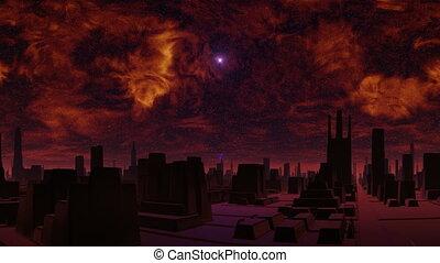 Gloomy city of aliens and UFO